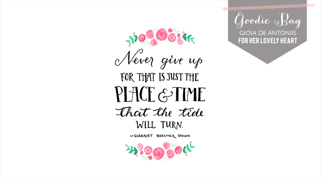Free wallapaper hand-lettered for Her Lovely Heart by Gioia de Antoniis