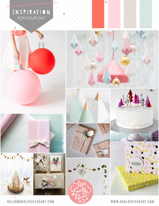 Her Lovely Heart Inspiration Board DIY Pastel Christmas. Click through for details.