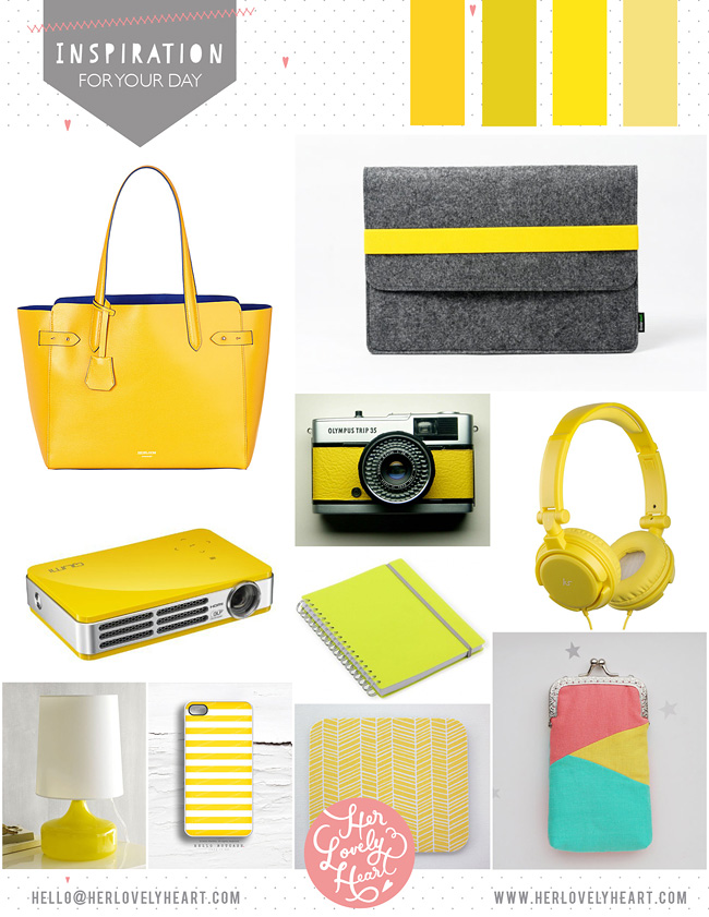 Her Lovely Heart Yellow Inspiration Board. Click through for details.