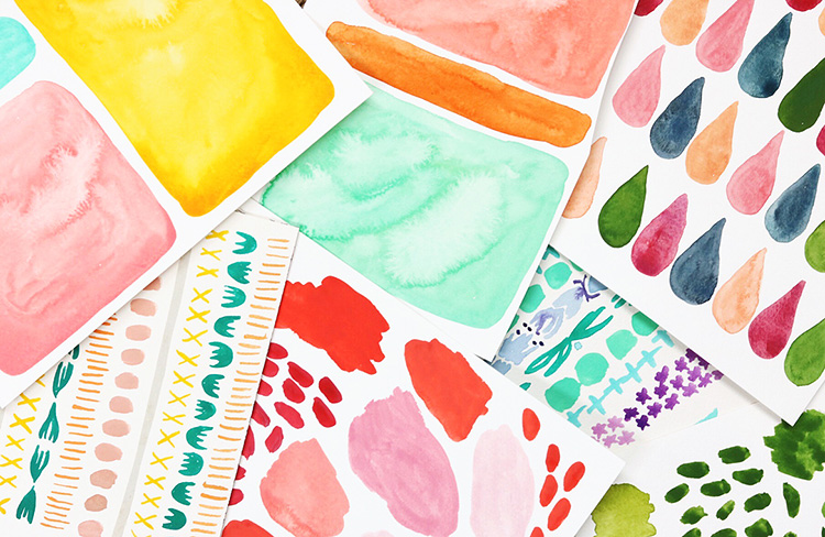 Colourful watercolour patterns. Read our PROfile interview with designer Juliet Meeks!
