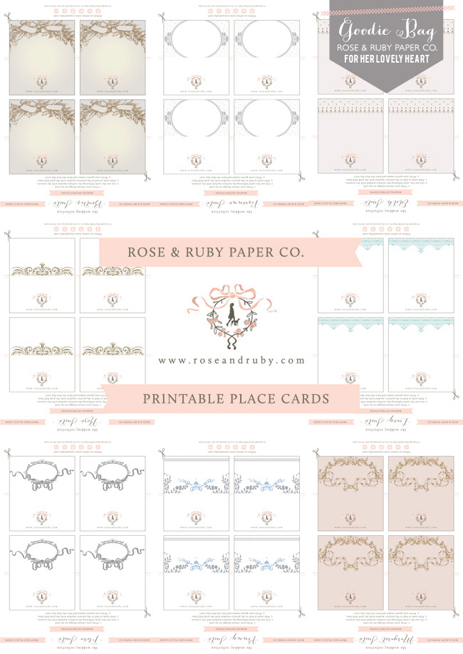 Printable place cards designed by Rose & Ruby Co. for Her Lovely Heart