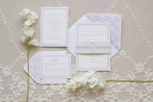 Rose & Ruby Lacey Suite Mulberry Wedding Invitation RSVP 1