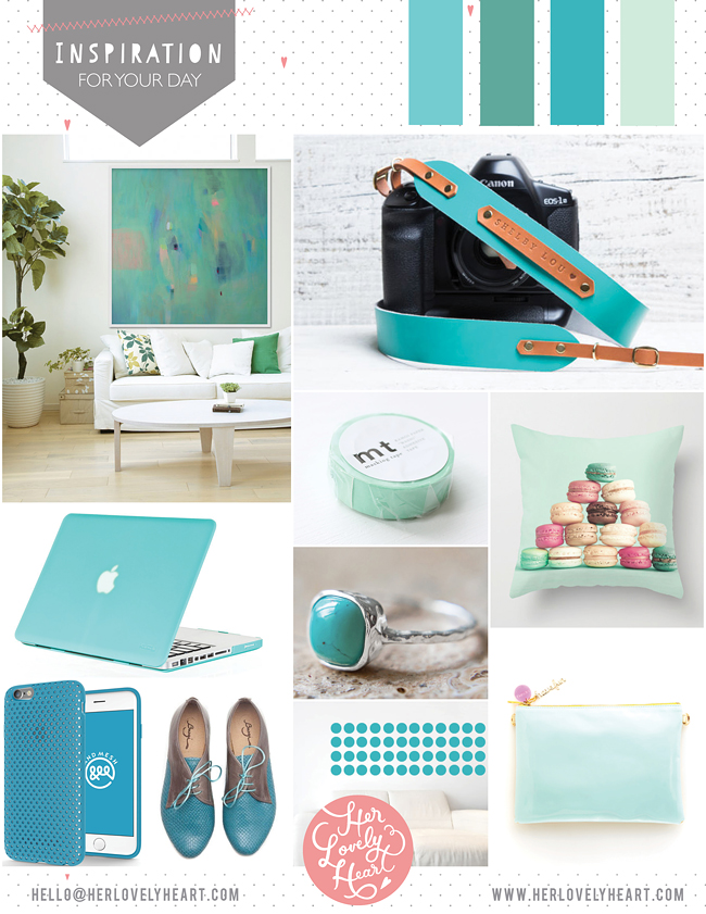 Turquoise inspiration for a happy office space. Click through for details!