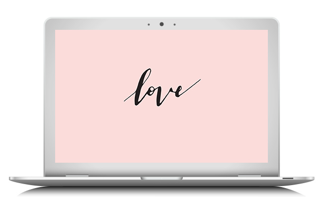 Free hand lettered Love wallpaper by Marianne Taylor.