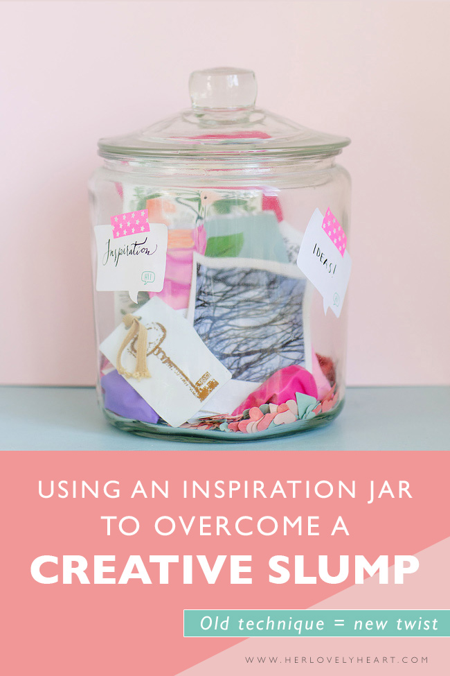 Using an inspiration jar to overcome a creative slump. Click through to read!