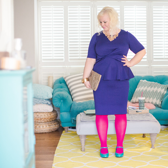 Colour blocking and bright pink tights.