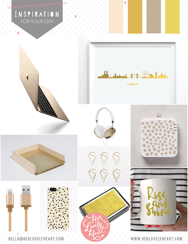 Her Lovely Heart Gold Inspiration Board. Click through for details.