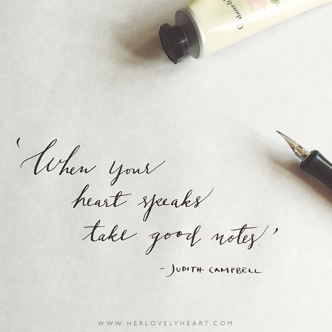 Free Judith Campbell quote desktop wallpaper hand lettered for Her Lovely Heart by Marianne Taylor