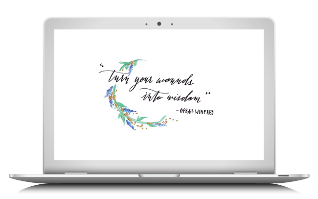 Oprah quote wallpaper by hand lettered for Her Lovely Heart by Jorica Glen. Click through to download!