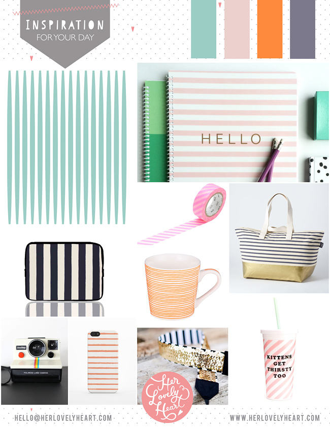 Her Lovely Heart stripy Inspiration Board. Click through for details!