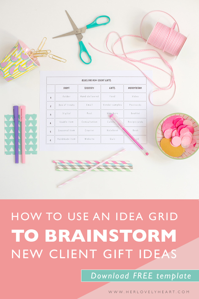 How to use an idea grid to brainstorm new client gift ideas. Download a free template.