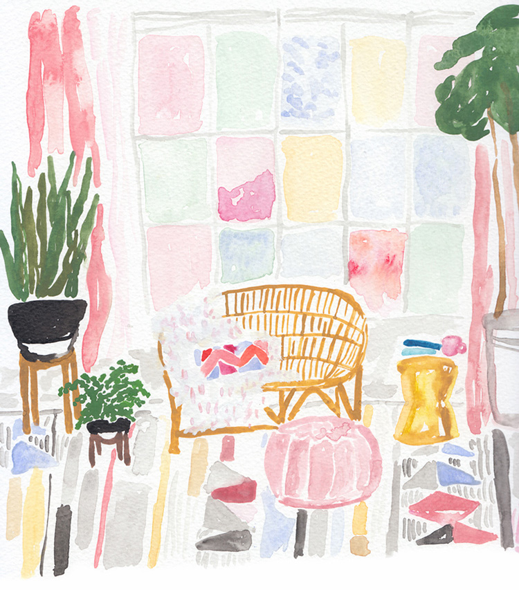 Pastel coloured painting of joy. Read our PROfile interview with designer Juliet Meeks!
